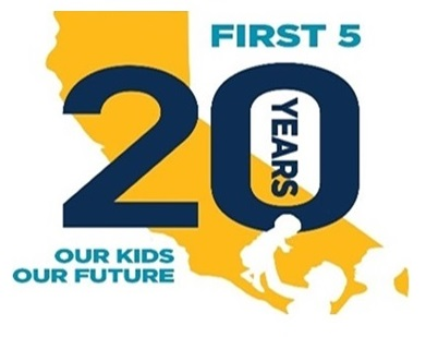 First 5 celebrates 20 years logo - family holding child in air with California state in background