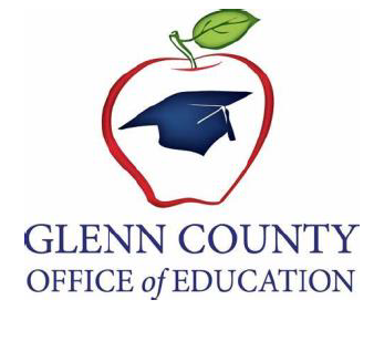 apple outline with graduation cap in center with Glenn county office of education logo underneath