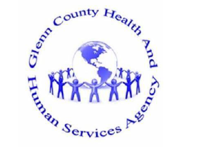blue figues holding hand around a globe and woths Glenn county health and human services around the whole thing